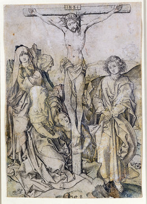 Christ on the Cross, with the Virgin and St. John Fine Art Print by Martin Schongauer