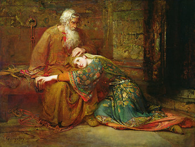 Cordelia comforting her father, King Lear, in prison, 1886 by George William Joy - print