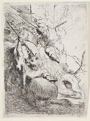 The Lion Hunt with One Lion by Rembrandt Harmensz. van Rijn - print