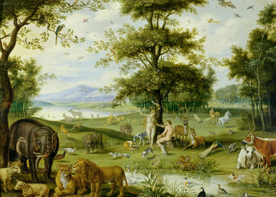 Adam and Eve in the Garden of Eden, c.1600 by Jan Brueghel - print