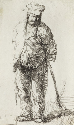Beggar leaning on a Stick by Rembrandt Harmensz. van Rijn - print