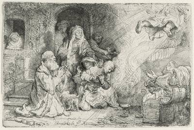The Angel Departing from the Family of Tobias by Rembrandt Harmensz. van Rijn - print