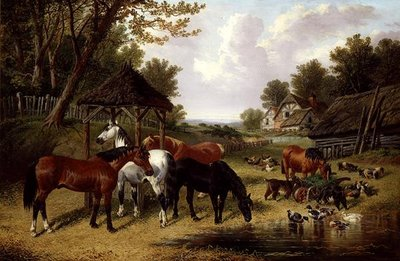 Horses by a Farmyard pond Fine Art Print by John Frederick Herring Snr