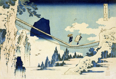 The Suspension Bridge Between Hida and Etchu by Katsushika Hokusai - print