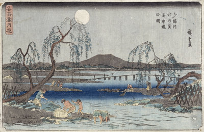 Catching Fish by Moonlight on the Tama River, from a series 'Snow, Moon and Flowers' by Ando or Utagawa Hiroshige - print