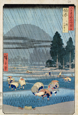 Rice Planting in Hoki Province with a Distant View of O-Yama by Ando or Utagawa Hiroshige - print