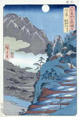 Reflected Moon, Sarashima by Ando or Utagawa Hiroshige - print