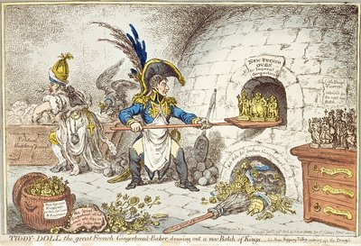'Tiddy-Doll, the Great French Gingerbread Maker, Drawing Out a New Batch of Kings. His Man, Hopping Talley, Mixing Up the Dough', pub. by Hannah Humphrey, 23rd January 1806 by James Gillray - print