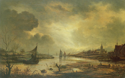 Dutch Town on a River by Moonlight by Aert van der Neer - print