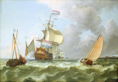 The Warship 'Hollandia' in Full Sail by Ludolf Backhuysen - print