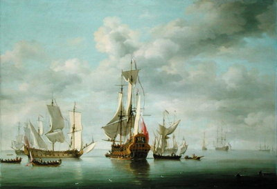 Warships Becalmed by Charles Brooking - print