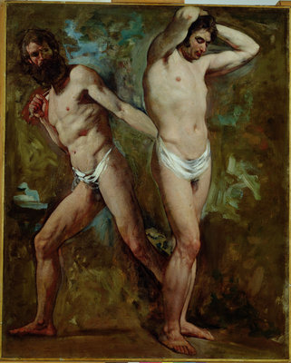 Two Standing Male Nudes by William Etty - print