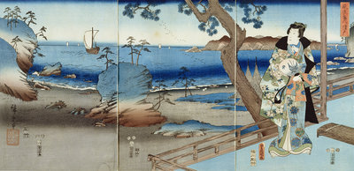 Prince Genji watching at the Suma Beach by Hiroshige - print
