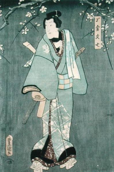 Detail of Character One from 'Five Characters from a Play by Toyokuni' Fine Art Print by Utagawa Kunisada