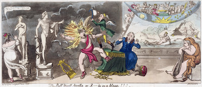 The Pall Mall Apollo or, R...ty in a blaze!!! 1816 by George Cruikshank - print