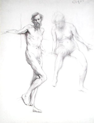 Study of a Man and a Woman by Sir William Orpen - print