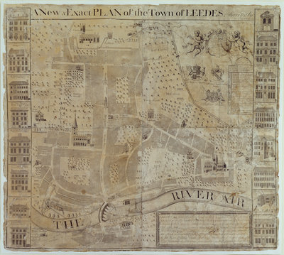 Plan of Leeds, surveyed by John Cossins, c.1730 by English School - print