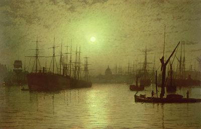 Nightfall Down the Thames, 1880 by John Atkinson Grimshaw - print