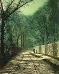 Tree Shadows in the Park Wall, Roundhay, Leeds, 1872 by English School - print