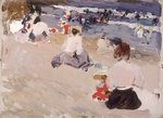 People Sitting on the Beach, 1906 by Lady Butler - print