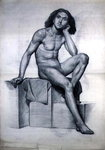 Study of a Nude Model Seated, 1873 by John Sell Cotman - print