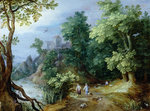 Landscape with Sportsmen and Dogs by Adriaan Josef Heymans - print