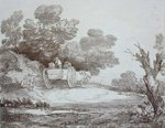 Wooded Landscape, Country Cart and Figures by Charles Napier Hemy - print