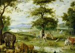 Adam and Eve in the Garden of Eden, c.1600 by Francis S. Walker - print