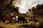 Horses by a Farmyard pond