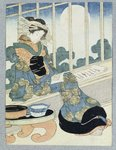 Japanese Lady Reading by Moonlight by James Jacques Joseph Tissot - print