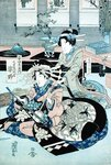 Two Seated Ladies, One Playing the Samisen by English School - print