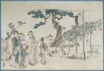 Ladies Visiting the Wisteria Gardens at Kameido by English School - print