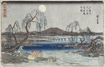Catching Fish by Moonlight on the Tama River, from a series 'Snow, Moon and Flowers' by Katsushika Hokusai - print