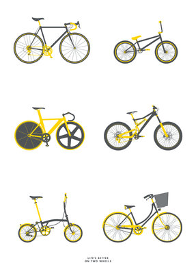Life's better on two wheels - white Fine Art Print by Tim George