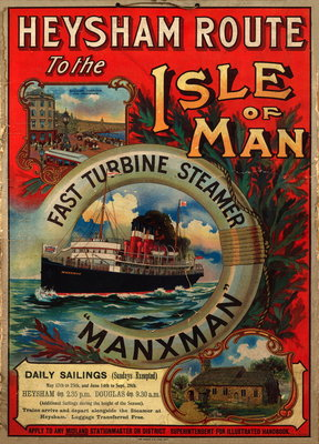 Heysham route to the Isle of Man on the fast turbine steamer 'Manxman' Wall Art & Canvas Prints by Tom Browne