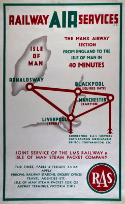Railway Air Services the Manx Airway Section From England to Isle of Man in 40 minutes Wall Art & Canvas Prints by Railway Air Services Ltd.