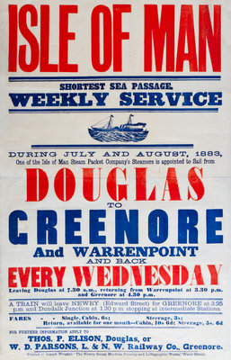 Isle of Man shortest sea passage weekly services Douglas to Greenhoe and Warrenpoint every Wednesday Wall Art & Canvas Prints by Thomas P. Ellison