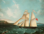 Sailing mail schooner the 'Douglas' entering Douglas harbour Fine Art Print by Dominic Serres