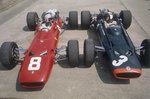 Chris Amon and Jackie Stewart at the British Grand Prix Wall Art & Canvas Prints by Anonymous