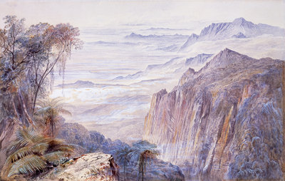 View near Conoor, Nilcheris, India Wall Art & Canvas Prints by Edward Lear