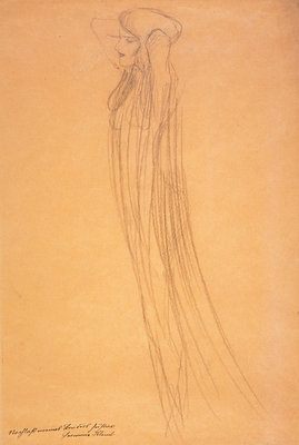 Frau mit durchsichtigem Gewand [Woman with Transparent Drapery] Wall Art & Canvas Prints by Gustav Klimt
