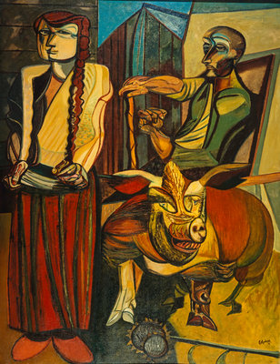Figures in a Farmyard Wall Art & Canvas Prints by Robert Colquhoun