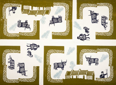 Design for Wrapping Paper (Farm with Highland Cattle) Poster Art Print by Edward Bawden