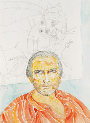 Self-Portrait (from 'The Addenbrookes Hospital Series') Postcards, Greetings Cards, Art Prints, Canvas, Framed Pictures, T-shirts & Wall Art by John Bellany