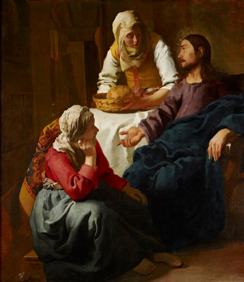 Christ in the House of Martha and Mary Fine Art Print by Johannes (Jan) Vermeer
