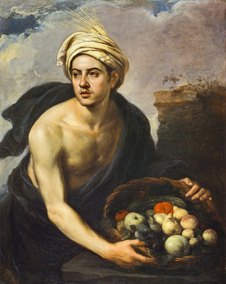 A Young Man with a Basket of Fruit (Personification of 'Summer') Fine Art Print by Bartolome Esteban Murillo