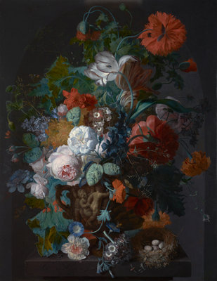 Flower Still Life with Bird's Nest Fine Art Print by Jan Van Huysum