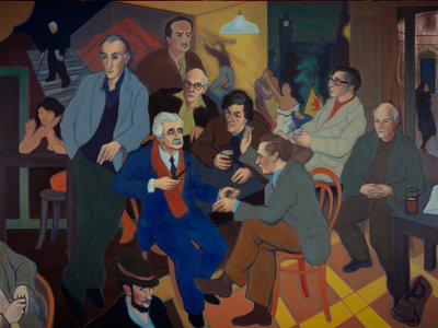 Poets' Pub (Norman MacCaig, Sorley MacLean, Hugh MacDiarmid, Iain Crichton Smith, George Mackay Brown, Sidney Goodsir Smith, Edwin Morgan, Robert Garioch, Alan Bold and John A. Tonge) Fine Art Print by Alexander Sandy Moffat