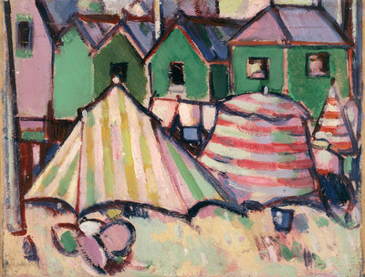 Bathing Boxes and Tents at St. Palais Fine Art Print by John Duncan Fergusson