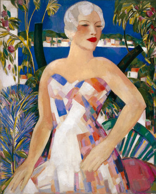 Blonde with Checked Sundress Fine Art Print by John Duncan Fergusson